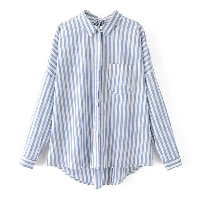 Striped Blouse without Buttons with Polo Collar Adjustable by Ribbon Back, Rounded Base ... TCH11 - Arnaud and Co