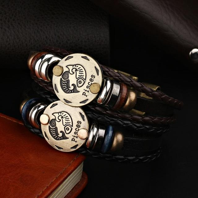 "Braided Leather ""Astro"" Bracelet with Bronze Medal ... 12 Signs. BBR09 - Arnaud and Co"
