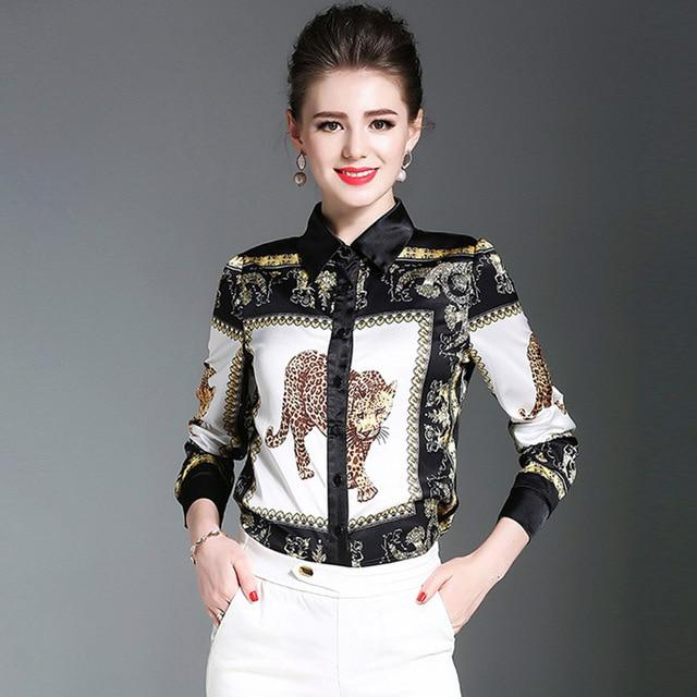 "High Fashion Style Satin Blouse Printed ""Leopard"" with Sleeves 3 / 4 Quarter ... AP36 - Arnaud and Co"