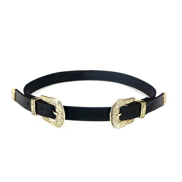 Vintage Style Double Metal Buckle Design Belt ... CF031 - Arnaud and Co