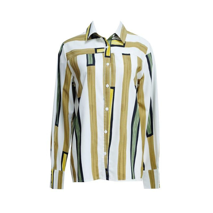 AP47 - Arnaud and Co Retro Style Long Sleeve Stripe Printed Long Sleeve Shirt
