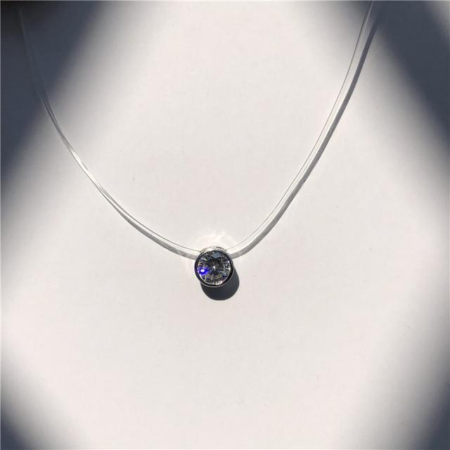 Transparent Invisible Necklace with Choice Pendant, Rhinestone or Pearl ... BCF07 - Arnaud and Co