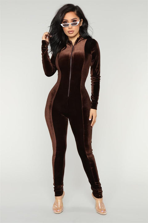 Velvet Bodycon Suit with V-neck and Zip Closure ... JPH19 - Arnaud and Co