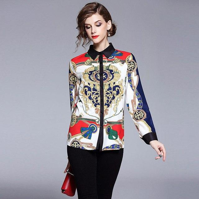 Blazon Printed Satin Blouse with Long Sleeves ... AP24 - Arnaud and Co