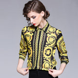 """Barocco"" Pattern Printed Blouse with Sleeves 3 / 4 Quarter and Low Neck ... AP27 - Arnaud and Co"