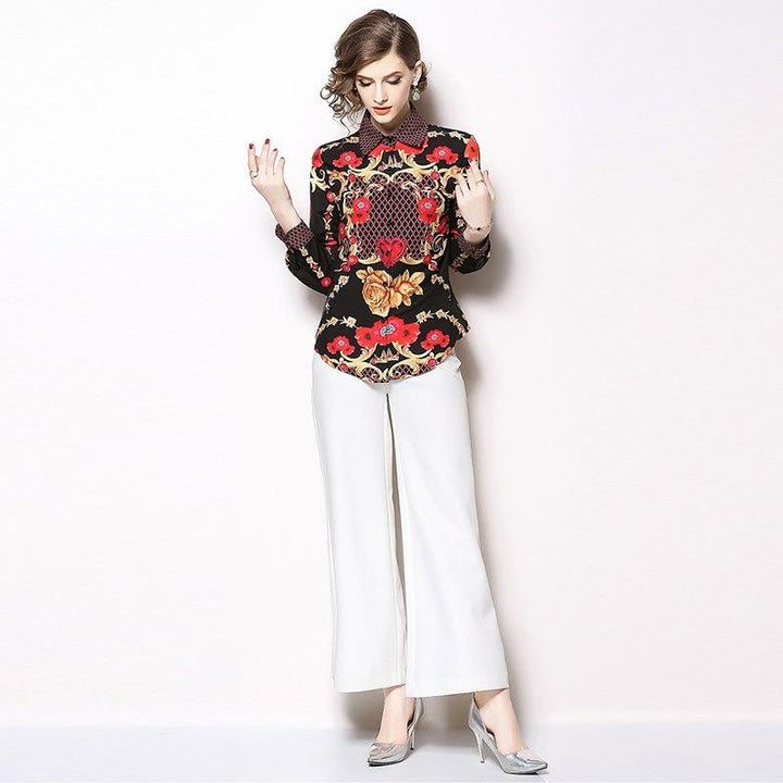 """High Fashion Style"" Floral Print Satin Long Sleeve Blouse ... AP26 - Arnaud and Co"