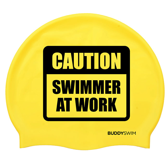 BuddySwim Schwimmboje 20l CAUTION SWIMMER AT WORK mit Cap gelb