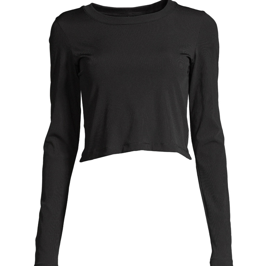 Casall Shiny Rib Long Sleeve - schwarz