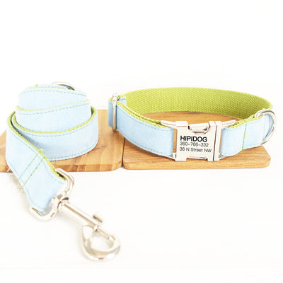 Personalized Dog Collar & Leash Set—— Sky blue