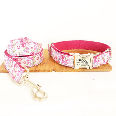 Personalized Dog Collar & Leash Set—— Peach pink