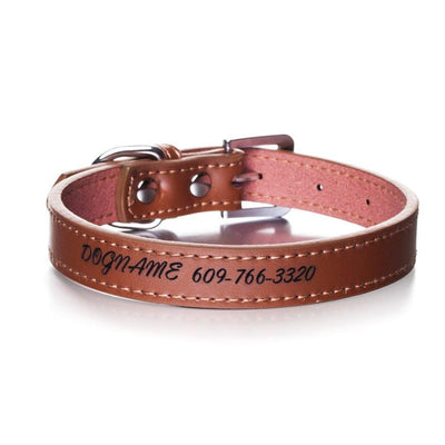 Brown color. Personalized Dog Collar - Leather Custom Engraving with Name/Phone,