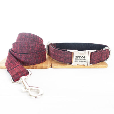 Personalized Dog Collar & Leash Set—— Marsala red