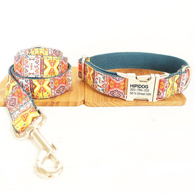 Personalized Dog Collar & Leash Set—— Bohemia