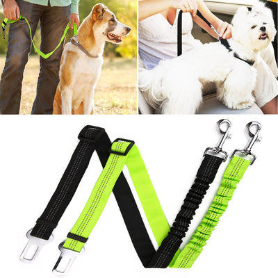 Hipidog Pets Seat Belt Leash for Dog Cat, Adjustable Vehicle Seatbelt, Retractable Leash Belt with Reflective Elastic Nylon Fabric