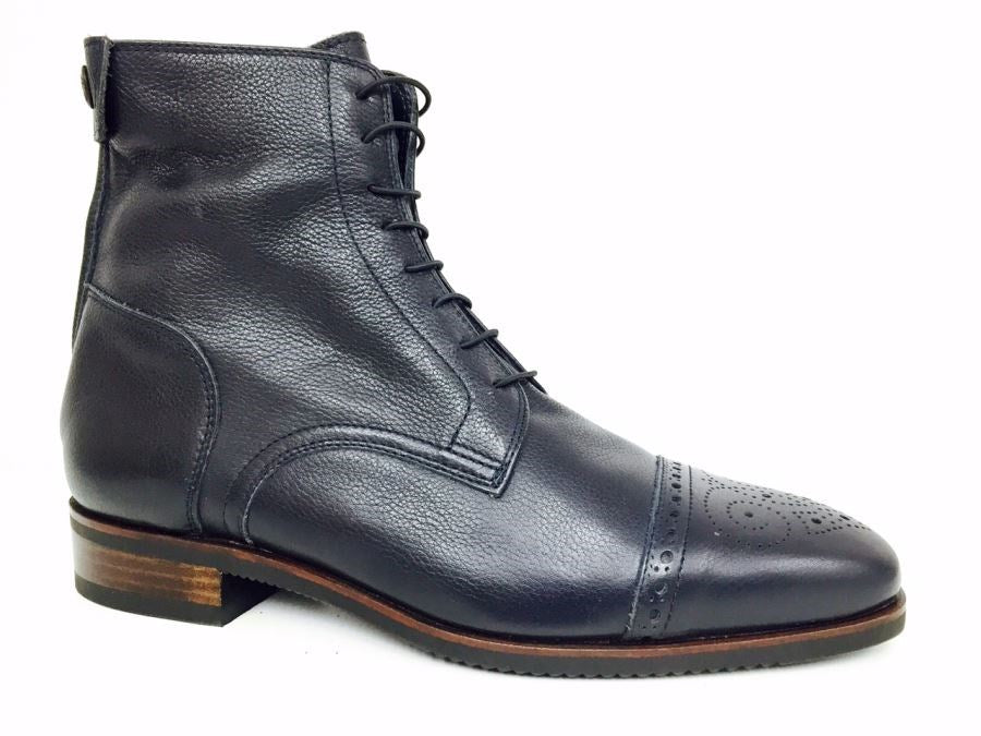 Volonato Blue Ankle Boots with brogue