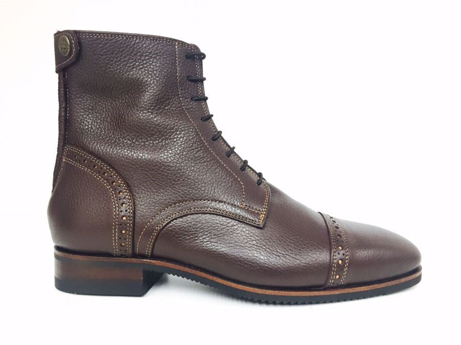 Volonato Brown Ankle Boots with Cognac Stitching