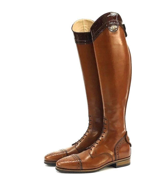 100 Tan FC Rusty patent Riding Boots