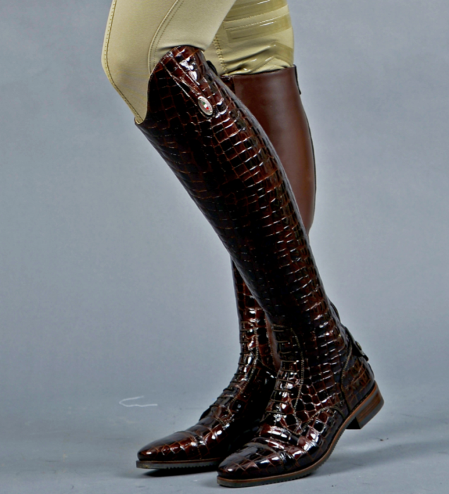 100 Brown Crocodile Riding Boots
