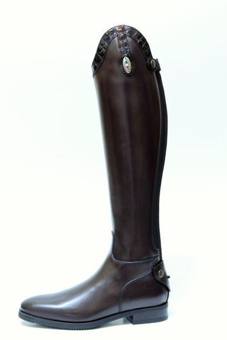 Brown with Croc Detailing Riding Boots