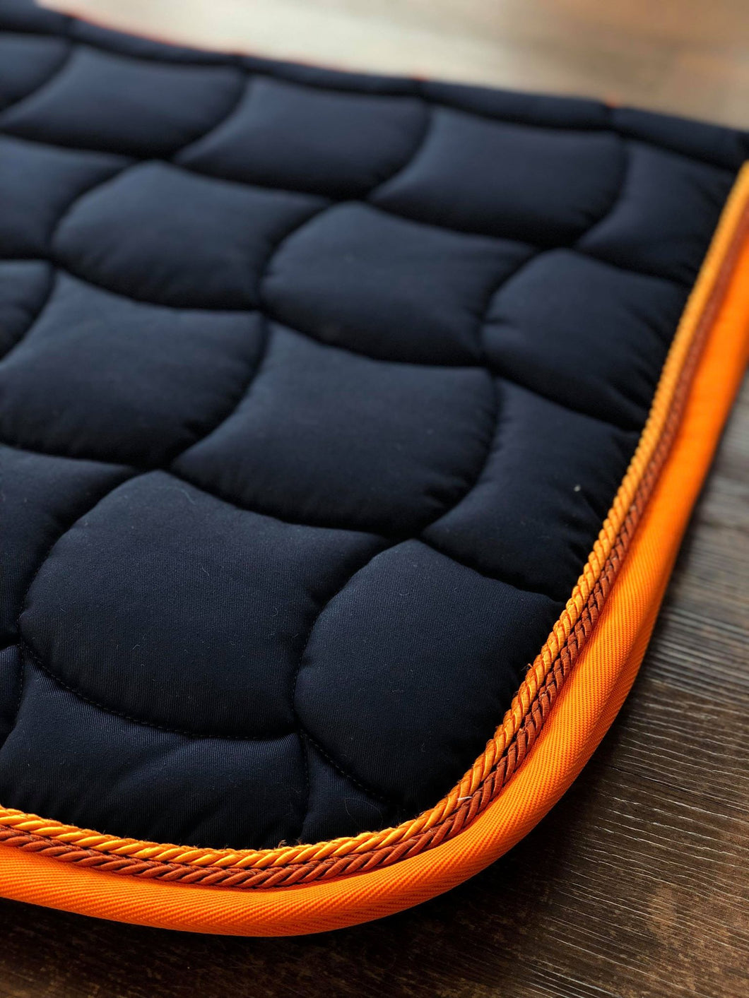 Navy & Orange Quadro Saddle Pad
