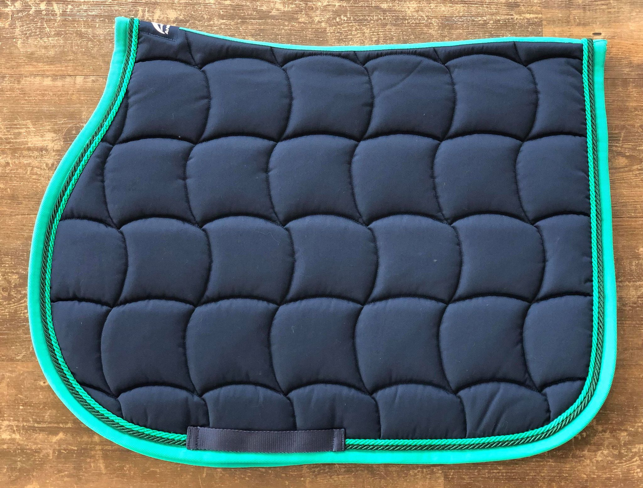 Navy & Green Saddle Pad
