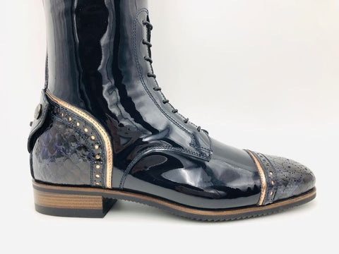 100 Navy Patent & Rose Gold Riding Boots
