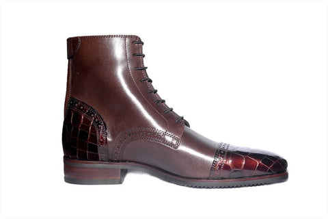 Brown Boot, Patent Toe And Heel