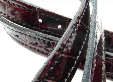 Red Crocodile Spur Straps
