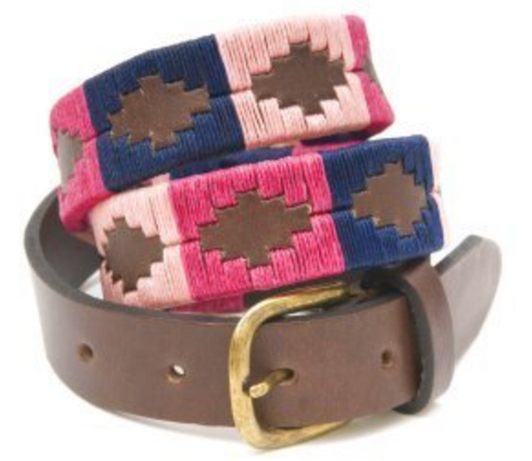 Skinny Argentine Polo Belt - Berry, Navy & Pink