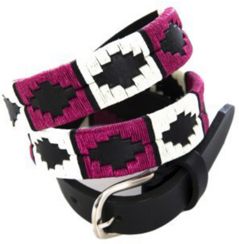 Skinny Argentine Polo Belts - Berry, White & Black Stripe