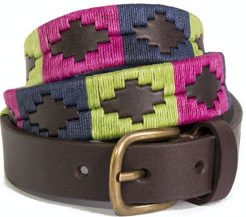 Skinny Argentine Polo Belt - Berry, Mint & Navy