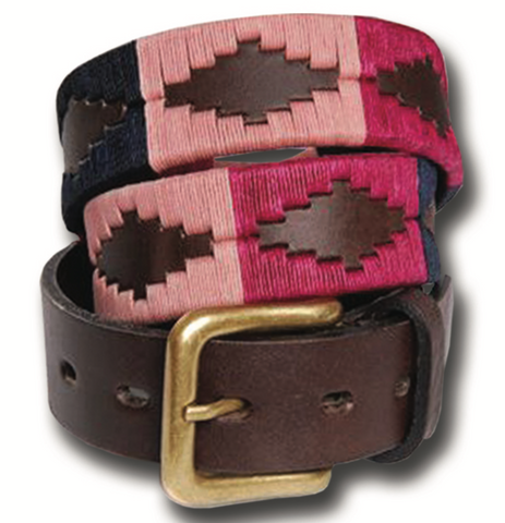 Traditional Argentine Polo Belt - Berry
