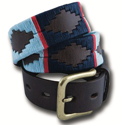 Traditional Argentine Polo Belt - Sky