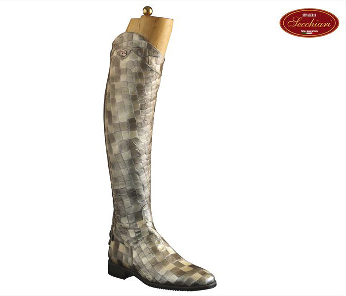 Grey Croc Riding Boots