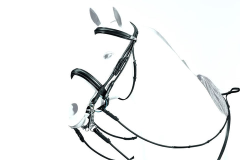 Weymouth Patent Detail Rolled Bridle with dressage Reins