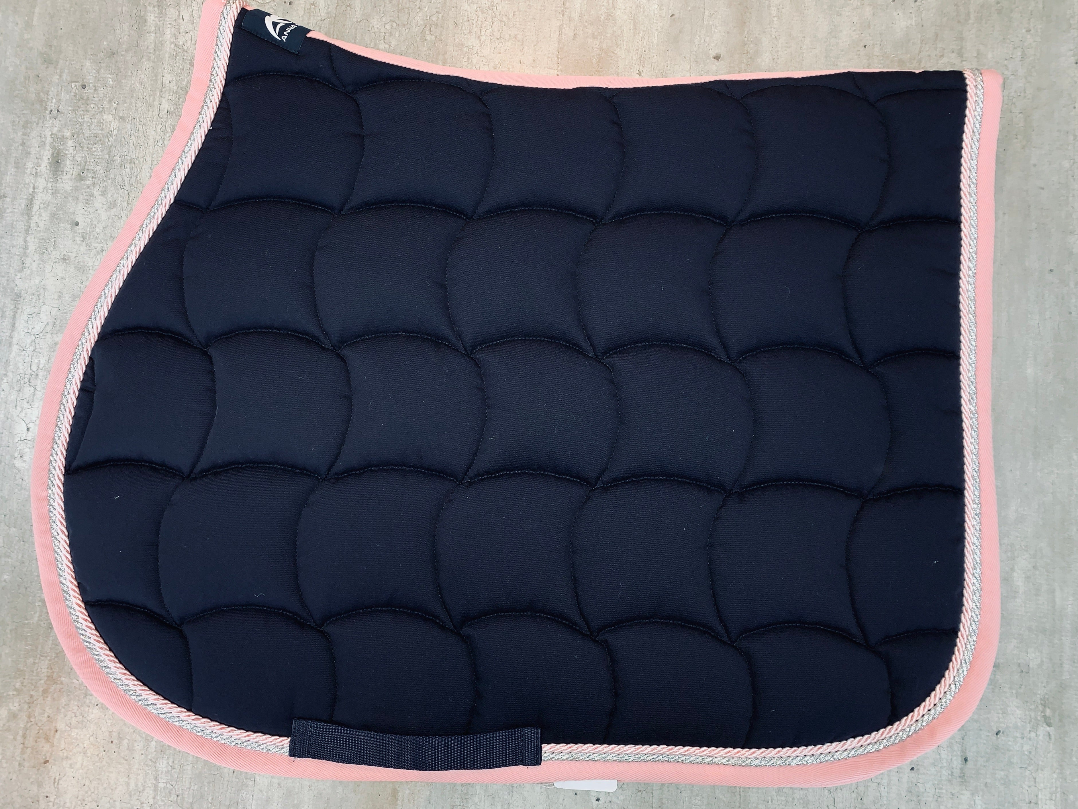 IN STOCK - Navy, Pink & Crystal Quadro Saddle Pad