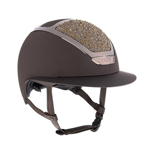 KASK HELMET STAR LADY BROWN GOLD ON THE ROCKS SWAROVSKI CRYSTAL