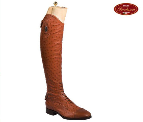 Ostrich Style Leather Boots