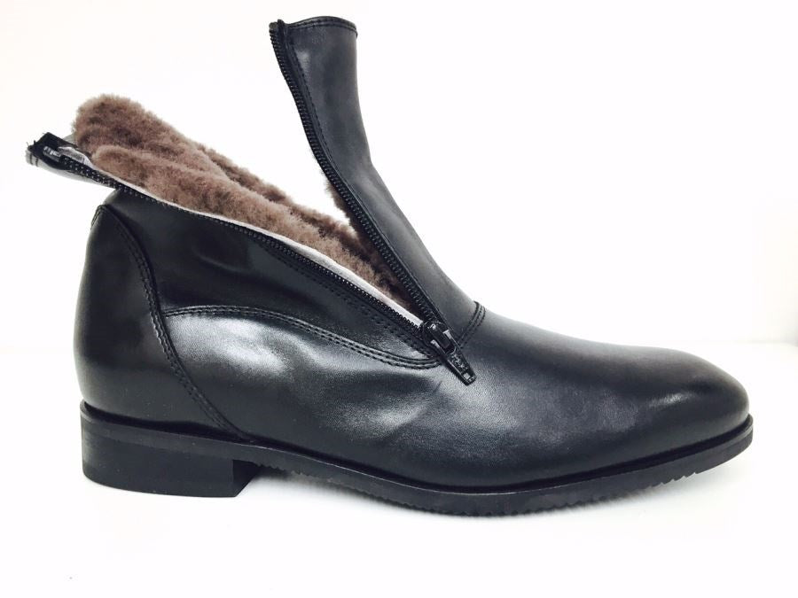 Sheepskin lined ankle boots 2 zips