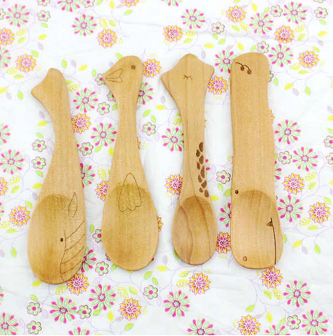Cartoon Animal Baby Wooden Feeding Spoon