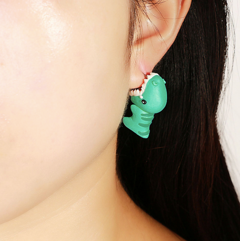Kawaii Cute Clay Dinosaur Earrings