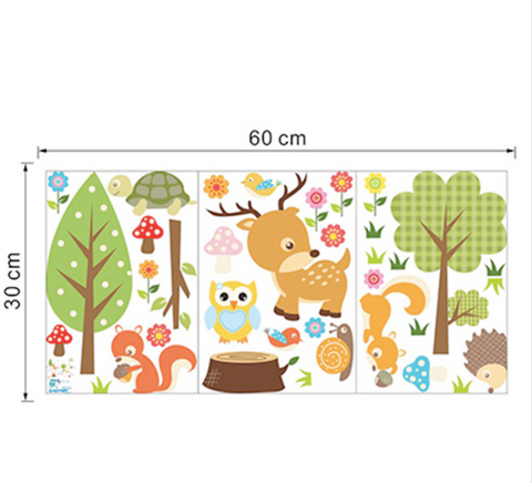 Cute Forest Animals Vinyl Wall Sticker