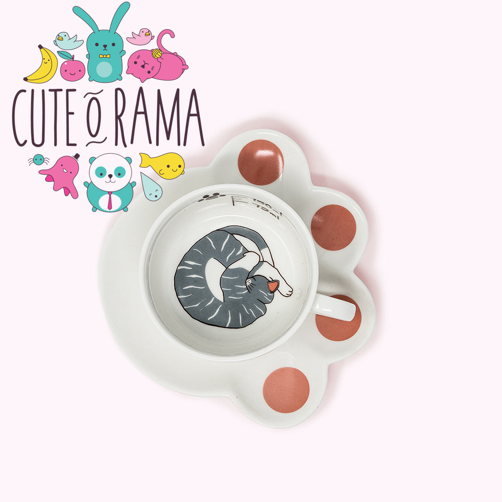 Cat Ceramic Cup and Paw Saucer Set