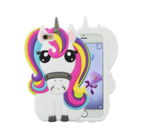 3D Cartoon Rainbow Unicorn Silicone Phone Case