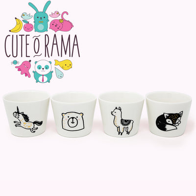Ceramic collectible Animal tea mugs - alpaca, fox, penguin, cat, fox, unicorn, bear