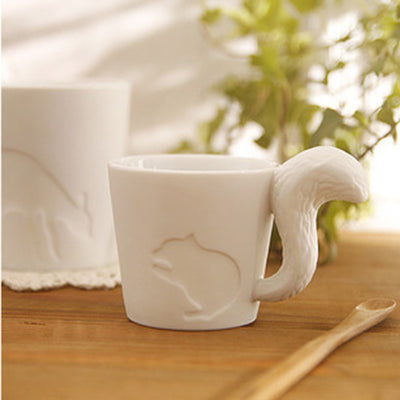 Japanese Forest Animal Mug/Tealight Holder - cat, rabbit, squirrel, deer