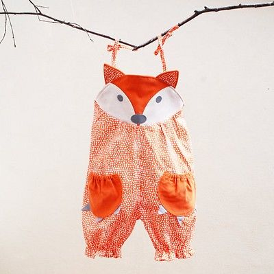Cute Patch-Pocket Fox Baby Romper