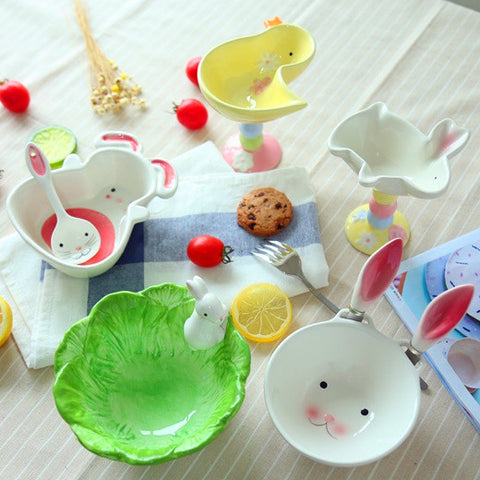 Hand-Painted Cute Ceramic Animal Bowls/Tableware - rabbits, duck, dog