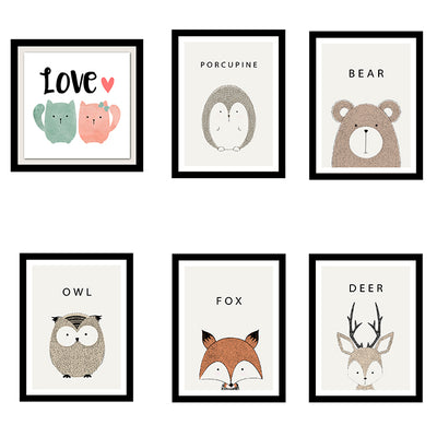 Cute Cartoon Forest Animal Wall Art Print - owl, porcupine, deer, fox, bear