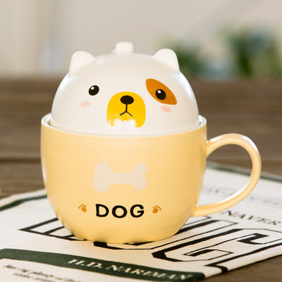 Ceramic Cute Animal Mug with Lid - cat, racoon, fox, dog, pig and bear